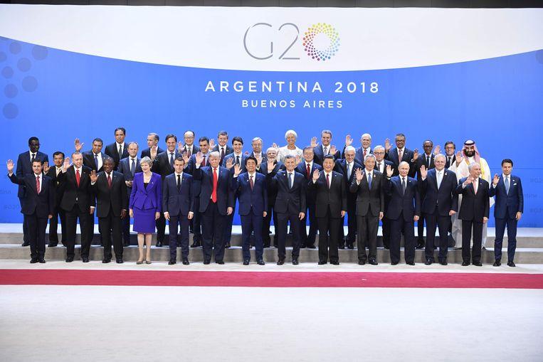 Staatsieportret van de G20, afgelopen november in Buenos Aires.  Beeld AFP