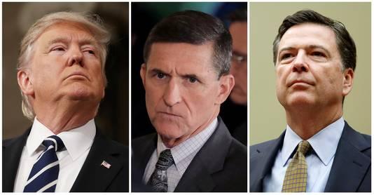 President Donald Trump (L), de voormalige veiligheidsadviseur Michael Flynn (C), en de ontslagen FBI-directeur James Comey.