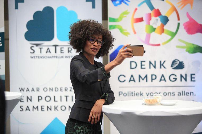 Sylvana Simons tijdens de presentatie van het verkiezingsprogramma van Denk. Beeld anp