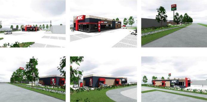 Impressies van het restaurant van Kentucky Fried Chicken (KFC) in Helmond.