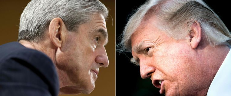 Robert Mueller (L) en de Amerikaanse president Donald Trump (R)