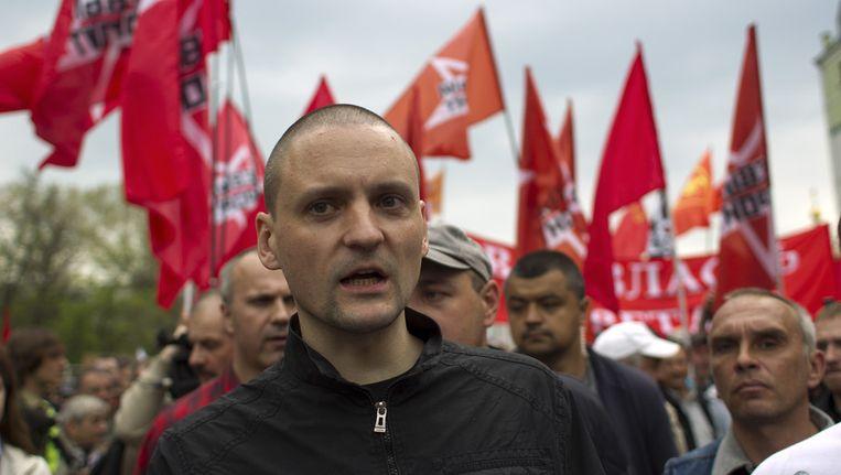 De Russische opposant Sergei Udaltsov vandaag tijdens de demonstraties. Beeld ap