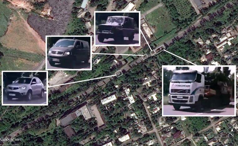 Beelden van Google Earth waarop het transport van de Boek-raket te zien is.