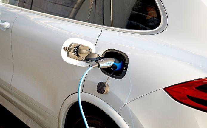 Een elektrische auto aan de laadpaal.