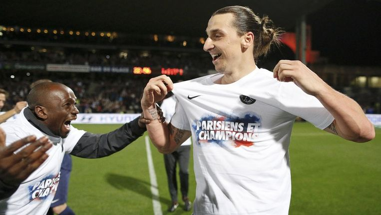 Uitzinnige vreugde bij Zlatan Ibrahimovic.