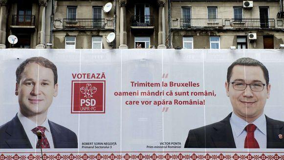 Een verkiezingsbanner van de Roemeense partij PSD.
