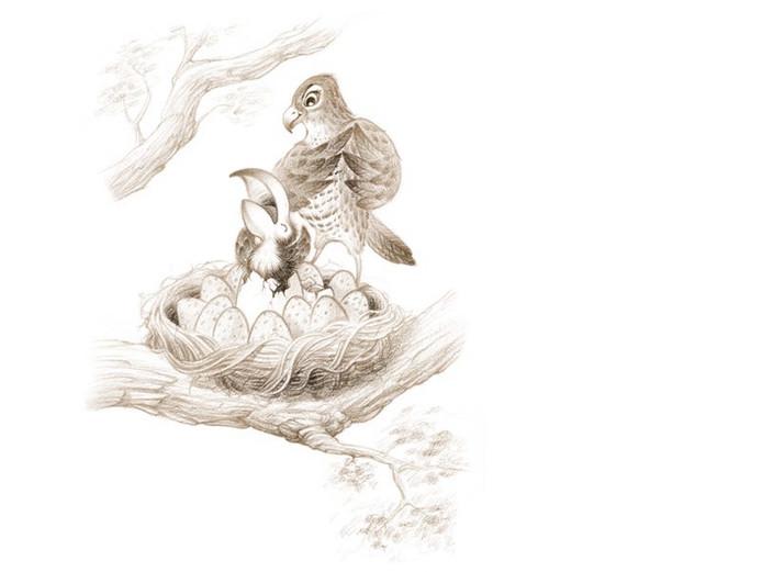 illustratie in Sprookjesvogel van Rieks Veenker