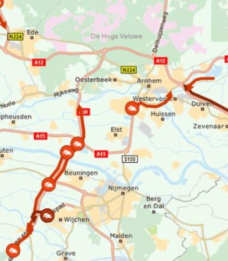 Vertraging voorbij na lange files op A12 naar Arnhem en op A50 richting zuiden