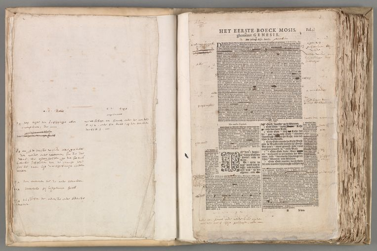 Eerste drukproef van de Statenbijbel, de zogeheten Autograaf, met inhoudelijke wijzigingen, 1633-1634 Beeld Nationaal Archief