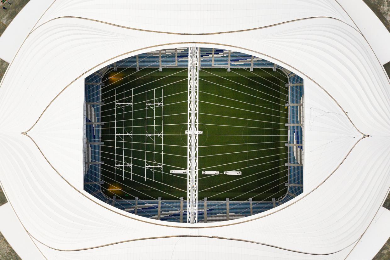 Luchtopname van het Al Janoubstadion, waar Ajax gaat spelen. Beeld Getty Images