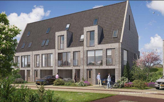 De dijkwoningen die Heijmans Vastgoed bouwt in De Stelt. Artist impression: Heijmans Vastgoed