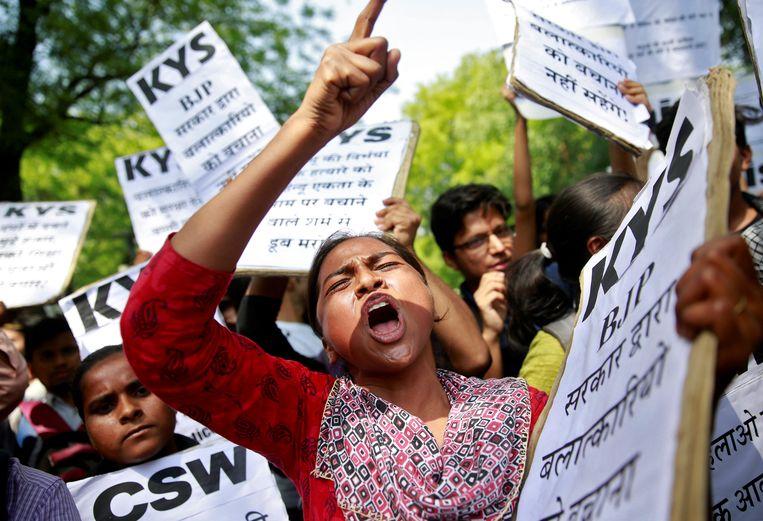 Protest in New Delhi op donderdag.