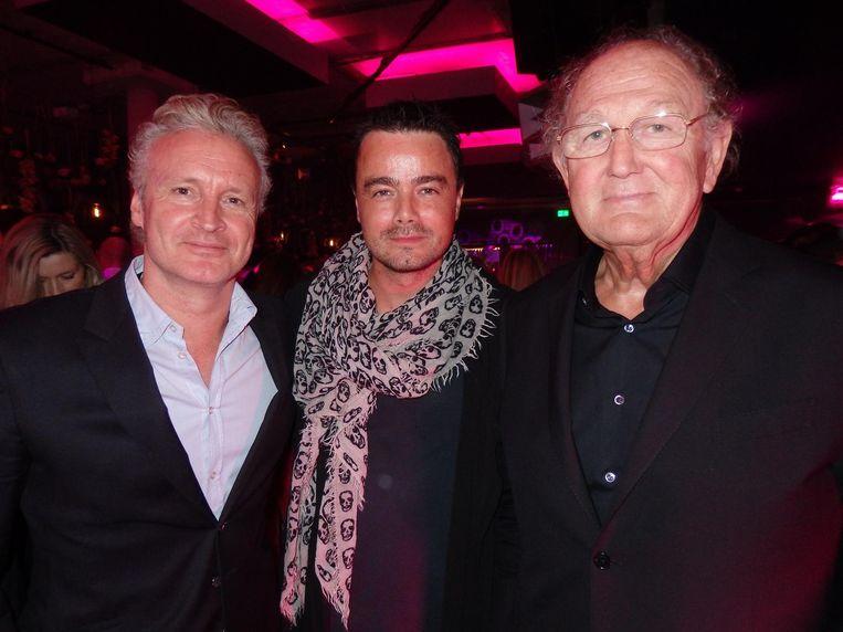 Programmadirecteur Erland Galjaard, zanger Dinand Woesthoff en mediatycoon Joop van den Ende. Beeld Hans van der Beek