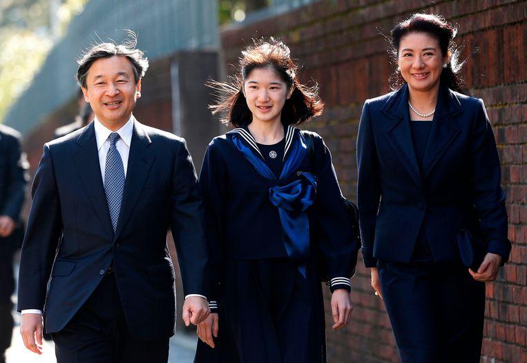 Naruhito en Masako met hun enig kind: prinses Aiko, als vrouw komt zij niet in aanmerking voor de troon.