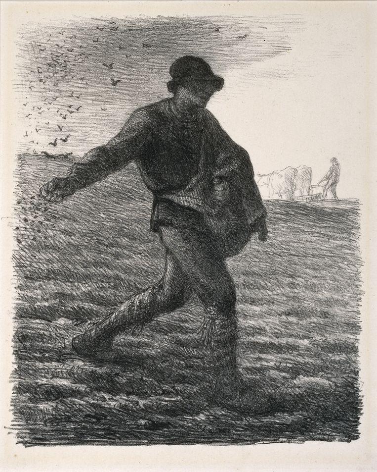 Jean-François Millet, Le semeur (De zaaier), 1851 - 1879. Beeld Stichting Kröller-Müller Museum