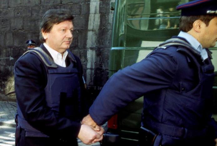 Nihoul tijdens zijn arrestatie.