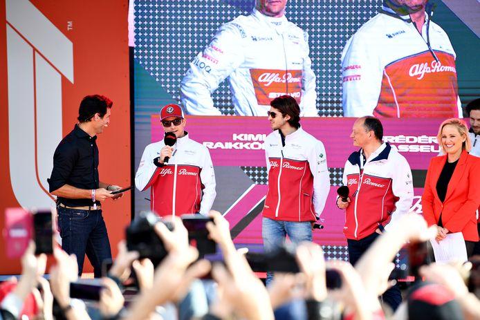 Kimi Raikkonen en Antonio Giovinazzi van Alfa Romeo Racing.