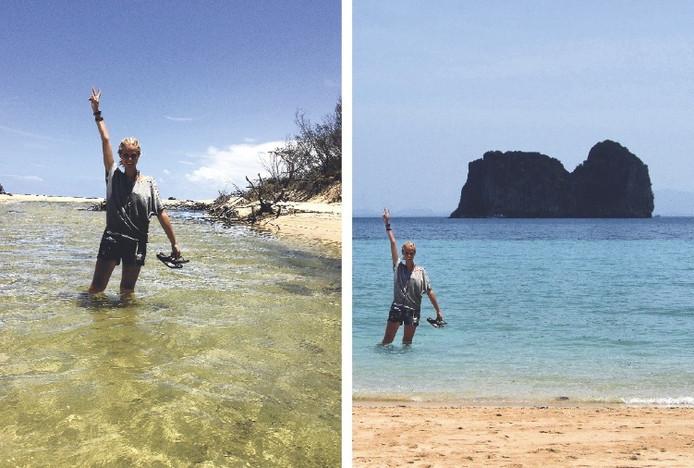 Bij wijze van experiment maakte de 25-jarige Zilla haar omgeving wijs dat ze vijf weken in Zuidoost-Azië doorbracht. Een foto die ze in Australië maakte (l) gebruikte ze om een tafereeltje in Thailand in elkaar te fotoshoppen (r).