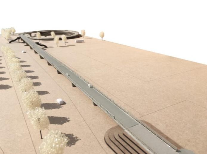 De Zalnébrug over de N35. Maquette en beeld van Buro MA.AN
