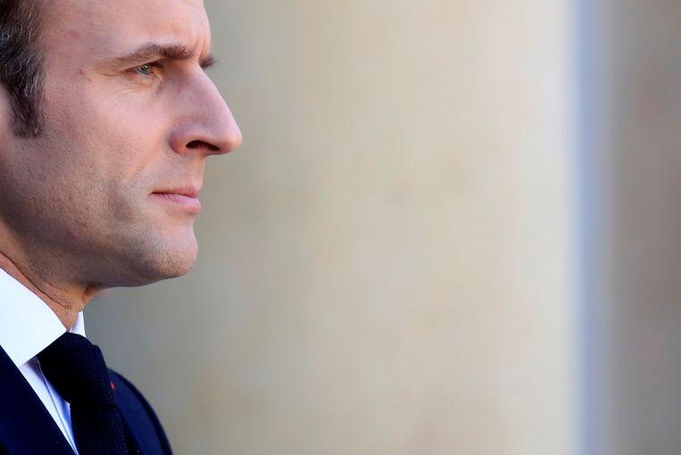 De Franse president Emmanuel Macron na een meeting met de Duitse bondskanselier Angela Merkel, 27 februari in Parijs. Beeld Reuters