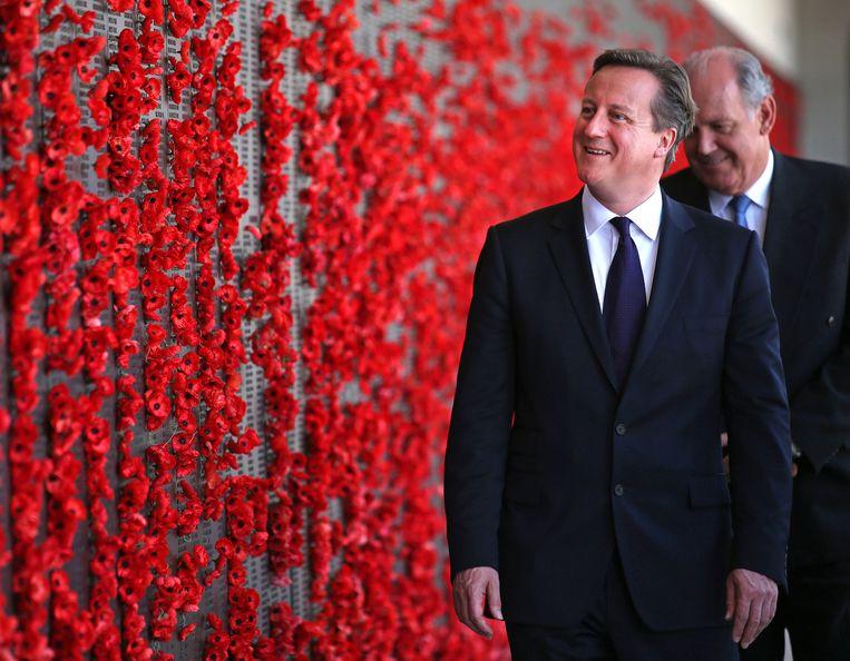 De Britse premier David Cameron gisteren in Australië. Beeld getty