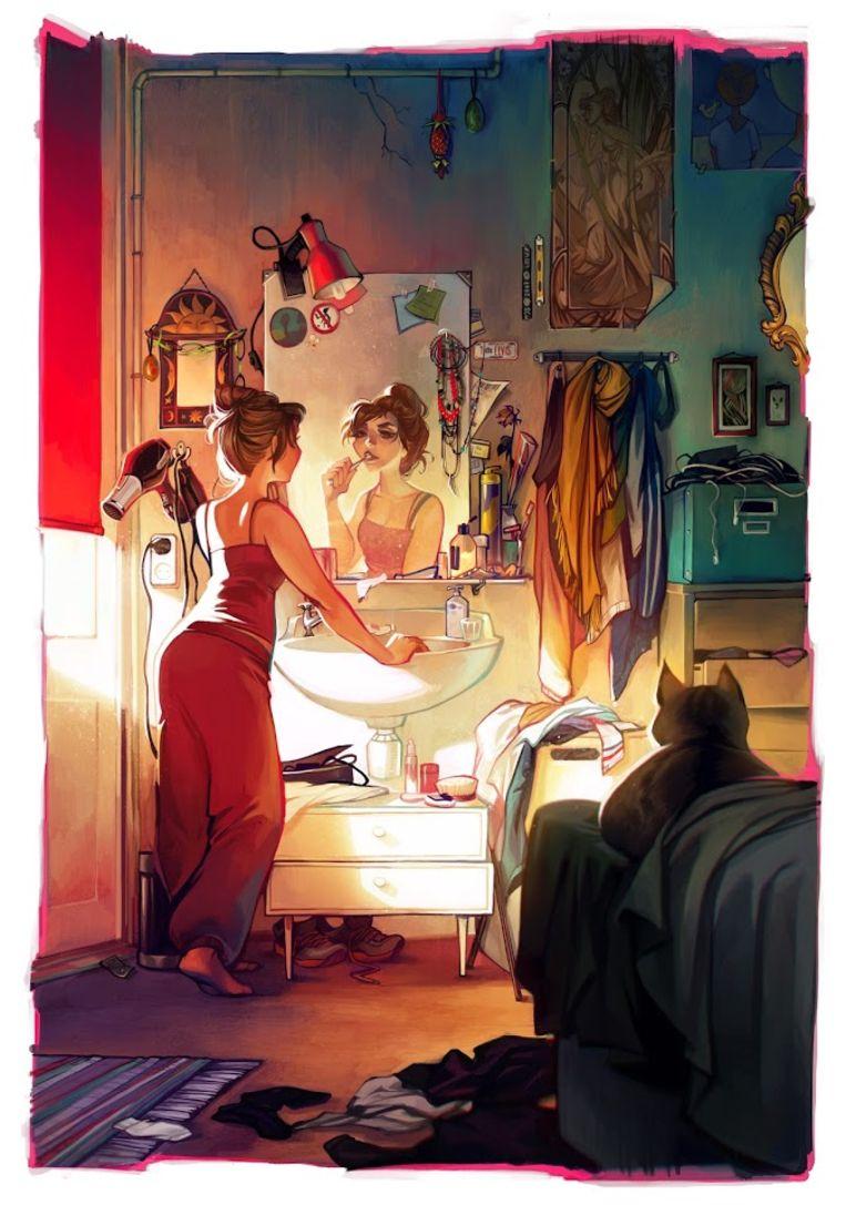 Werk van Loish, die zich heeft laten inspireren door geïnspireerd door Disney en de afbeeldingen van Mucha. Beeld Lois van Baarle