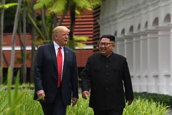 Donald Trump en Kim Jong-un tijdens de eerste top in juni vorig jaar.