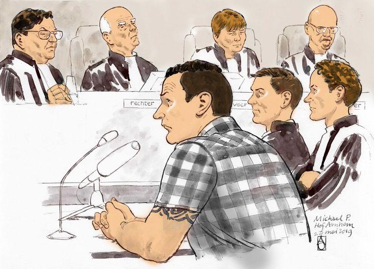 Een rechtbanktekening van Michael P.  in het gerechtshof in Arnhem. Beeld ANP