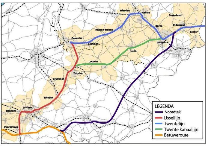 De diverse spoorlijnen door Twente met het alternatief van de Noordtak