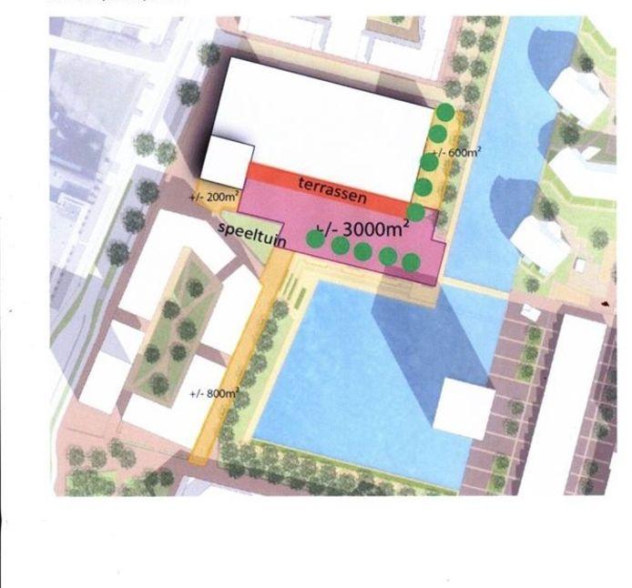 Tekening van het rechthoekige evenemententerrein (roze kleur)