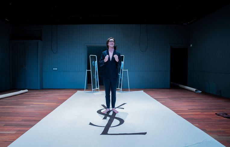 Florian Myjer in Yves Saint Laurent. Beeld Bas de Brouwer