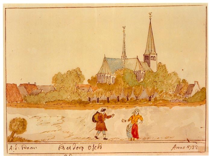De middeleeuwse kerk van Oss ging bij de stadsbrand van 1751 verloren.