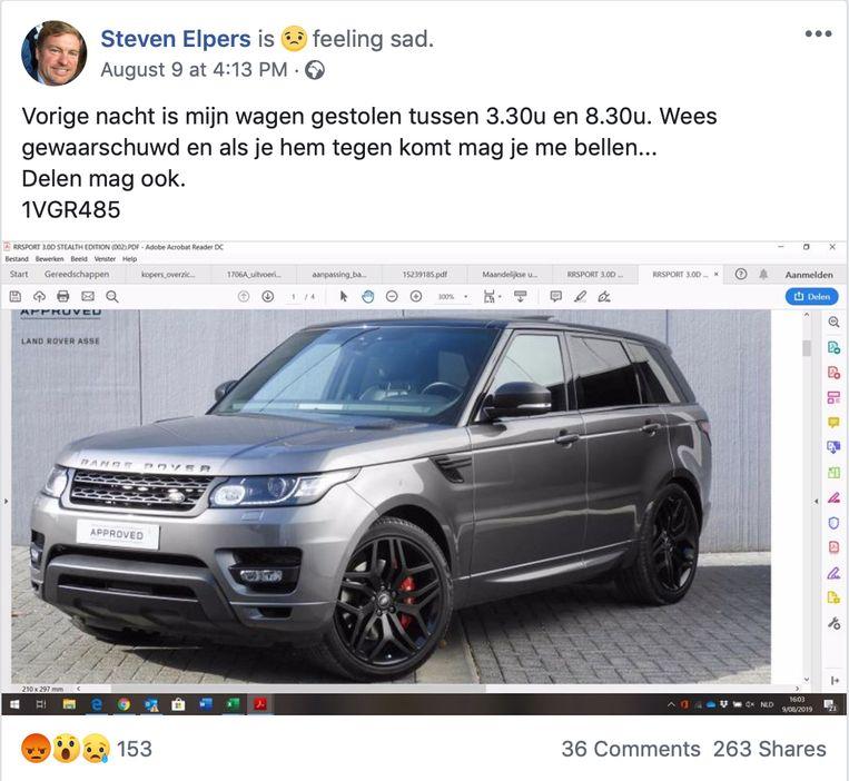 Schepen Steven Elpers plaatste een berichtje op sociale media om andere inwoners te waarschuwen en om eventuele getuigen te verzamelen.
