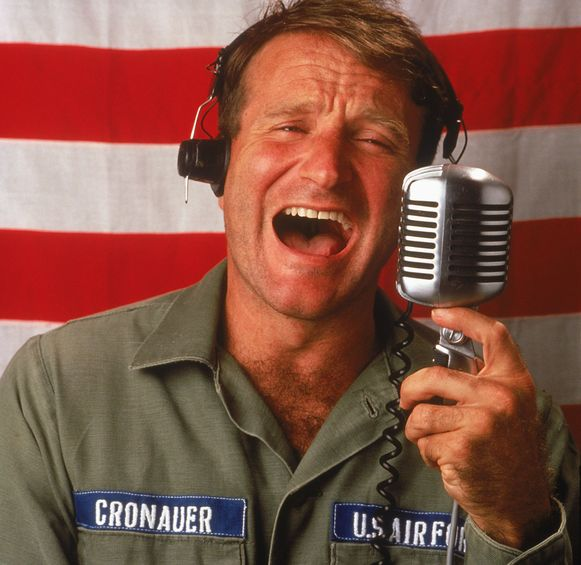 Robin Williams in de film Good Morning, Vietnam (1987).