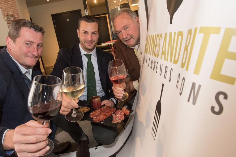 Thierry Martin, Ignace Michaux en Pascal Delfosse organiseren dit weekend de wijnbeurs in zaal COC.