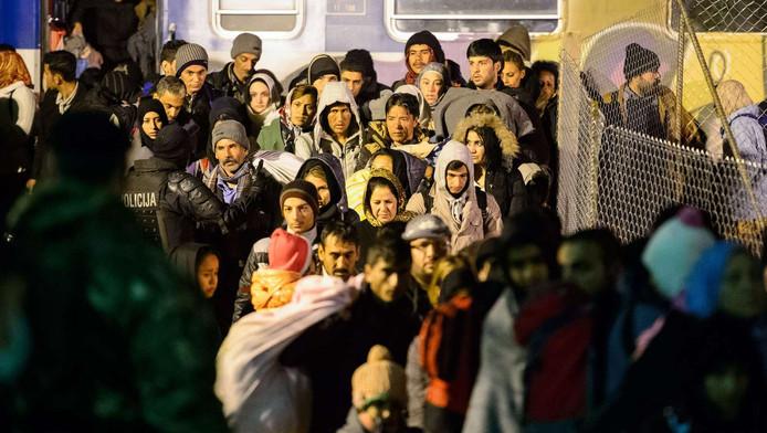 Vluchtelingen lopen richting een azc in Šentilj, Slovenië