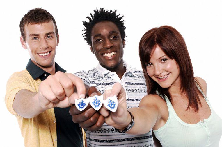 De presentatoren van 'Blue Peter' in 2009: Joel Defries, Andy Akinwolere en Helen Skelton