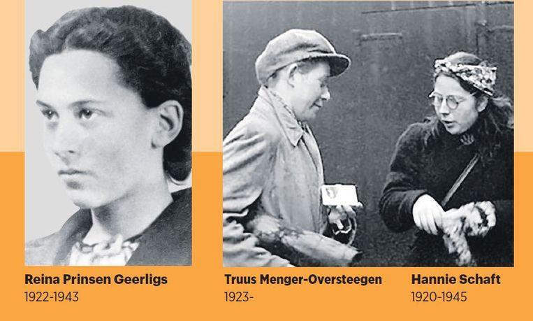 De Haarlemse Truus Menger-Oversteegen heeft op de foto hierboven zojuist met Hannie Schaft een liquidatie uitgevoerd. Truus, met in haar tas een automatisch pistool, was als man verkleed zodat ze zich bij onraad als verliefd stelletje konden voordoen. Hannie Schaft werd postuum beroemd door haar (ook verfilmde) biografie 'Het meisje met het rode haar'. Beeld  Niod, Verzetsmuseum, Beeldbank WO II