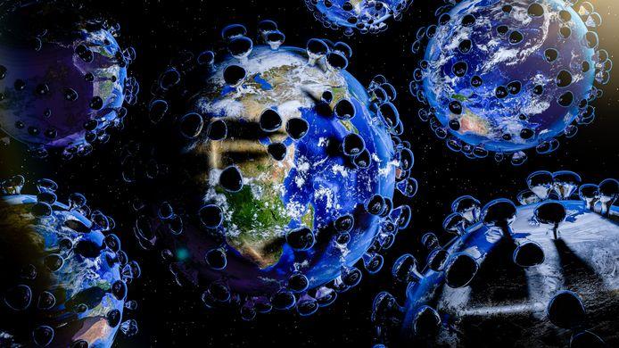 Een illustratieve weergave van de wereld die gebukt gaat onder het coronavirus. Wereldwijd is het openbare leven verstoord door maatregelen om het virus in te dammen.