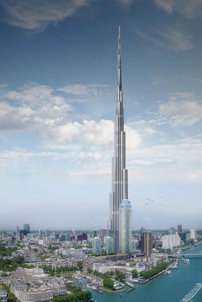 De Zalmhaventoren in vergelijking met het grootste gebouw ter wereld: de Burj Khalifa in Dubai.