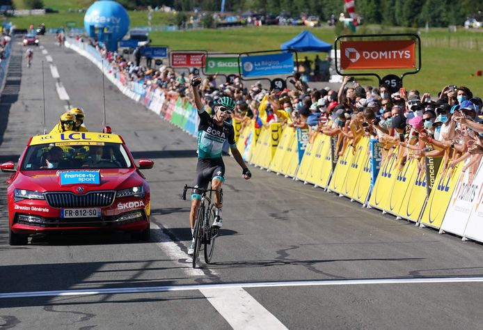 Kämna juicht na zijn zege in de vierde etappe van de Dauphiné.