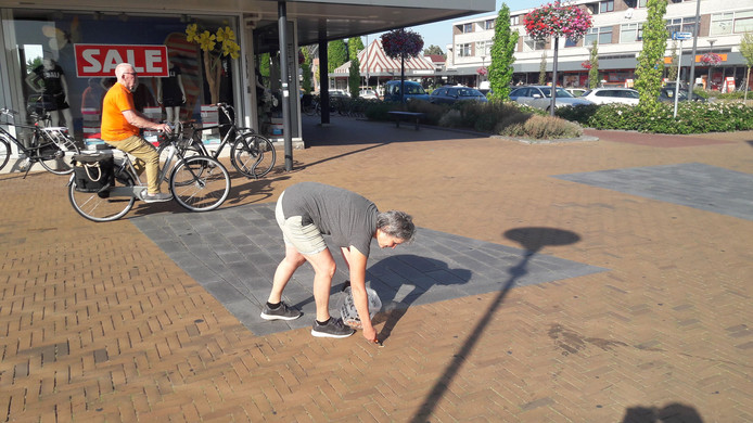 Peukenmeisje Bernadette Hakken uit Ellecom raapt peuken in winkelcentrum Calluna in Dieren.