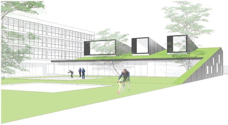 Een simulatiebeeld van het toekomstige dienstencentrum met een groendak.