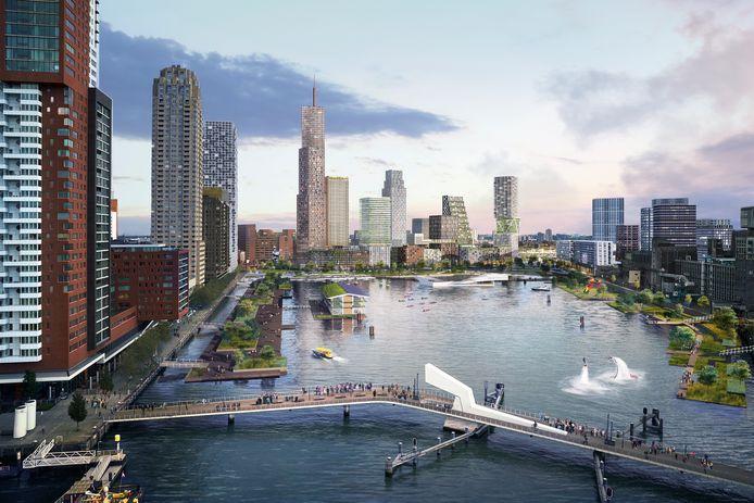 De aanleg van een stadsstrand en een drijvend park in de Rijnhaven kost meer van 50 miljoen euro.