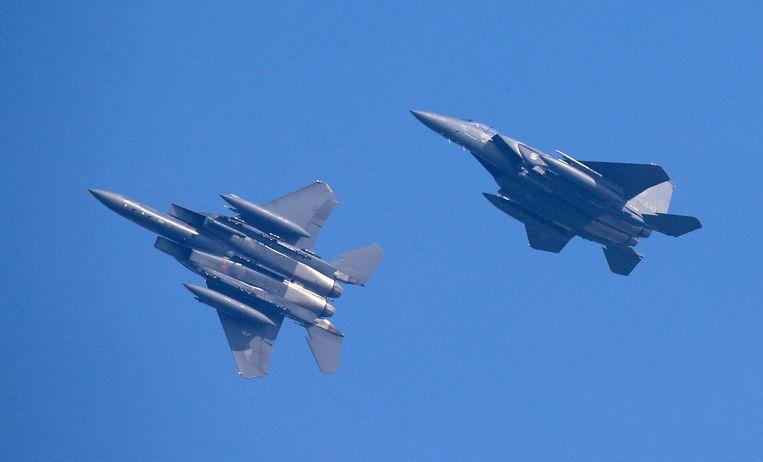 """Een woordvoerder van de Russische luchtmacht noemde de manoeuvres van de Zuid-Koreaanse gevechtsvliegtuigen (F-15's) """"hooliganisme in de lucht""""."""