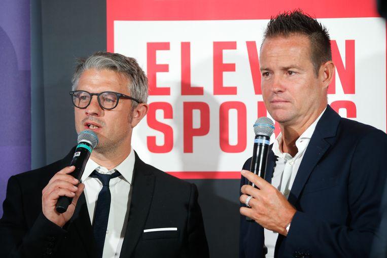 Eleven-presentatoren Benjamin Deceuninck en Gilles De Bilde.