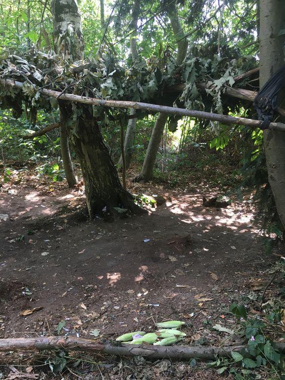 De vluchtelingen hadden in het bos al houten constructies gemaakt om onder te slapen.