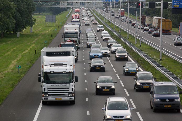 De A1 tussen Deventer en Apeldoorn. Foto archief
