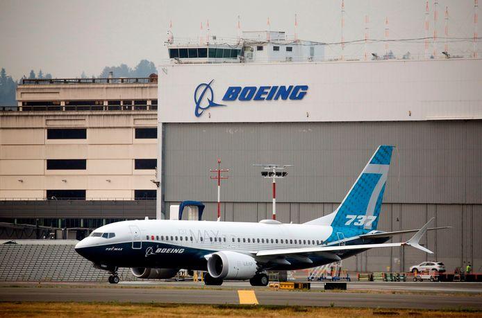 Een Boeing 737 Max op de luchthaven van het bedrijf nabij Seattle.