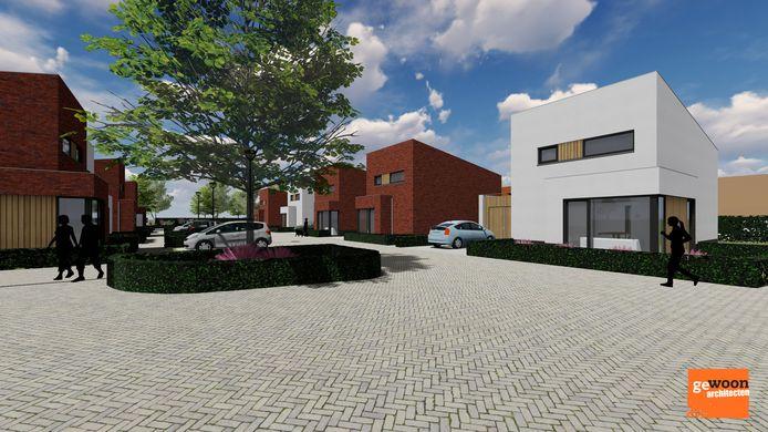 De patiowoningen die achter de Hoge Ham in Dongen gebouwd gaan worden.